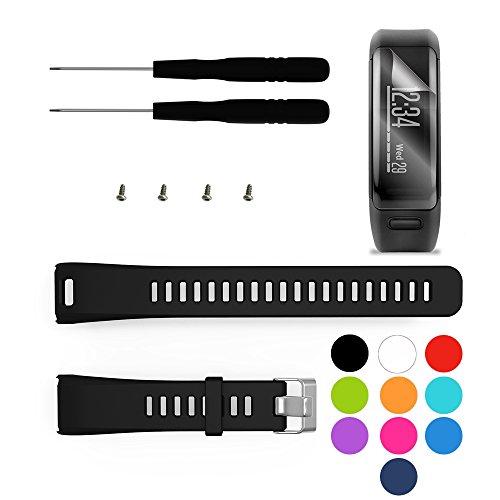 TUSITA Armband für Garmin Vivosmart HR - Silikon Sportarmband Band mit schutzfolie - GPS Smart Watch Zubehör