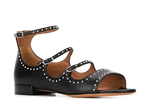 Sandales plates Givenchy en Cuir noir avec goujons - Code modèle: BE08677004-001 Noir