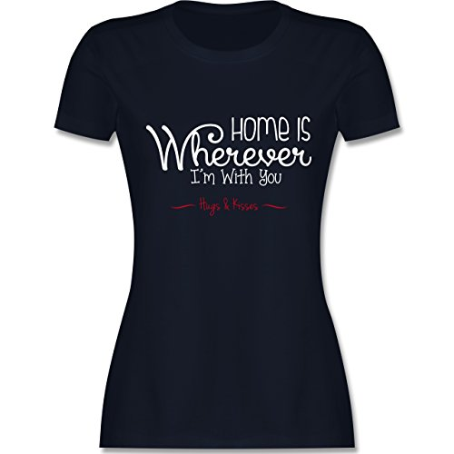 Statement Shirts - Home Is Wherever I'm With You Hugs & Kisses - tailliertes Premium T-Shirt mit Rundhalsausschnitt für Damen Navy Blau