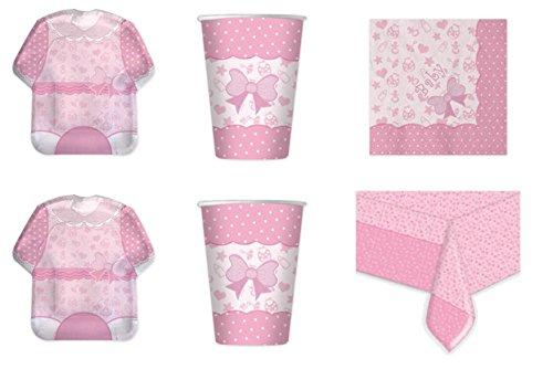 Koordinierte Mädchen Baby Girl Shower Geburt Taufe Erste Geburtstag Pink Party Dekorationen–Kit N ° 4cdc- (8Teller, 8Becher, 16Servietten, 1Tischdecke)