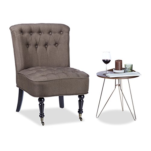 Relaxdays Cocktailsessel 50er, Bequem, Weich, Stoffbezug, Laufrollen, Eleganter Clubsessel, HBT: 82...