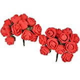 Majik Artificial Flowers Hair Accessories (SET Of 24 Flowers) (Red)