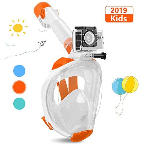Karvipark Tauchmaske, 2019 Neueste Faltbare Schnorchelmask, Sicherer Unabhängiger Atemraum Vollgesichtsmake 180° Sichtfeld Anti-Fog Vollmaske für Erwachsene und Kinder (Kinder Orange Weiß, XS)