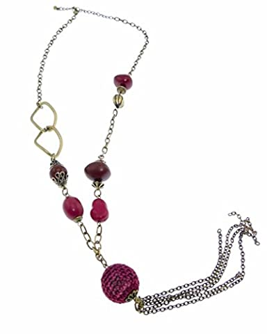 Plum Coloured Bead and Brass Necklace with Long Chain Tassels