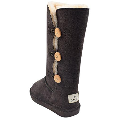 Oasap Damen Fashion Winter Schnee Stiefel Mit Seitlichem Knopf Black-6