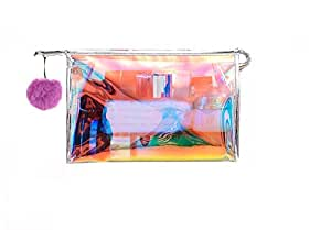 STRIPES Gold Waterproof Clear PVC Transparent Toiletries Make up Pouch Organizer Hand bag Travel Kit (Pink)