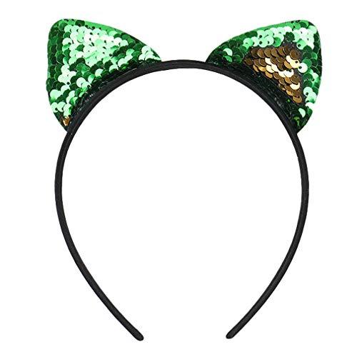 COMVIP Katze Ohren Muster Damen Mädchen Haarschmuck Haare Hoop Stirnbänder Haarreif Grün