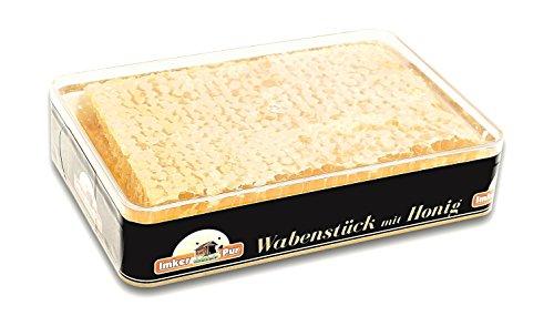 ImkerPur Wabenstück in Akazien-Honig, 3er-Set, jeweils 400 g (gesamt 1200g), in hochwertiger, lebensmittelechter Frische-Box