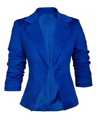 AO Blazer cintré Manches 3/4 froncés Bleu royal