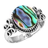Jeweloporium Natürliche Abalone Schale Frauen Schmuck 925 Sterling Silber Ring Größe 64 (20.4)