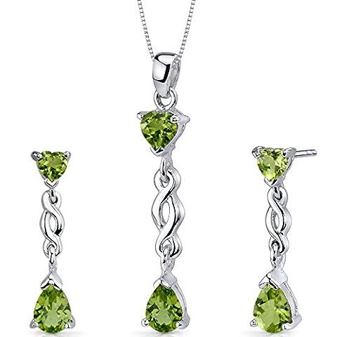 Revoni Enchanting 3.25 carats Pear Heart Shape Sterling Silver Peridot Pendant Earrings Set