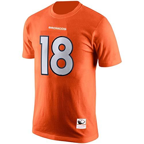 Mitchell & Ness Herren T-Shirt Peyton Manning Denver Broncos #18 Orange, Herren, Orange, X-Large -