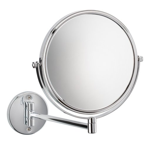 nie wieder bohren MR472 miroo Kosmetikspiegel, doppelseitig, 5fach und 1fach Vergrößerung, 23 x 18 cm (BxL), verchromt inklusive Befestigungstechnik