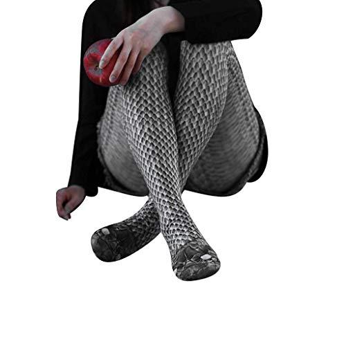 YpingLonk ❤️ Schlangenstrümpfe mit Digitaldruck für Damen, sportliche Leggings Frauen gedruckt Yoga Fitness Leggings Running Gym Stretch Sporthosen Hosen (Plus Fisch-netz Dessous)