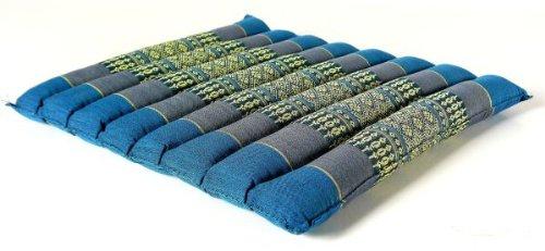 Kapok Sitzkissen 35x35x4cm, optimal als Stuhlauflage oder Meditationskissen, Bodenkissen bzw. Stuhlkissen (hellblau)