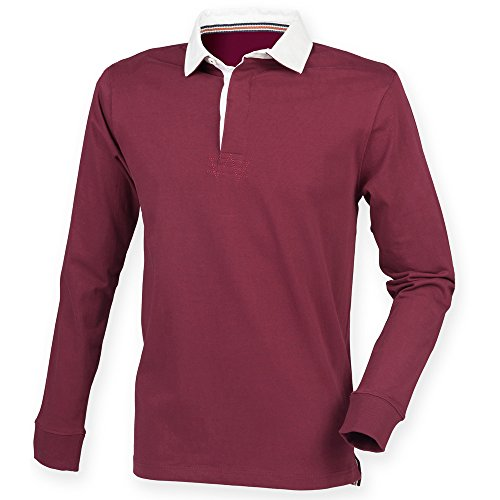 Front Row Mens Premium Superfit Rugby Shirt Burgundy