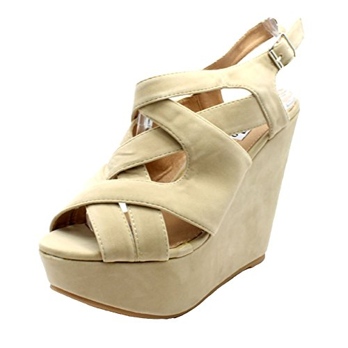 Beige suedette platform strappy wedge heel sandals / shoes