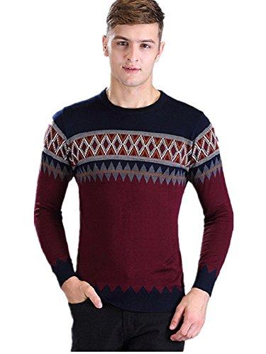 BOMOVO Herren Pullover Rundhals Streifen Strickpullover Sweatshirt dark rot