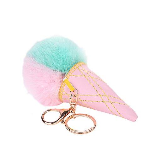 timeracing Fashion Cute Frauen Girl flauschig Kunstfell Eis Form Schlüsselanhänger Ring Bag Handtasche Geldbeutel Auto Anhänger, Pink / Grün