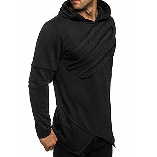 Herren Lange Ärmel Hoodie mit Kapuze Sweatshirt Tops Jacken Mantel Outwear (L, Schwarz) (Top Lange Sleeveless Knit)