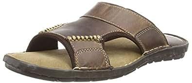 Ale Mens Slip On Slide Brown Leather Mules Sandals (6 UK, Brown)
