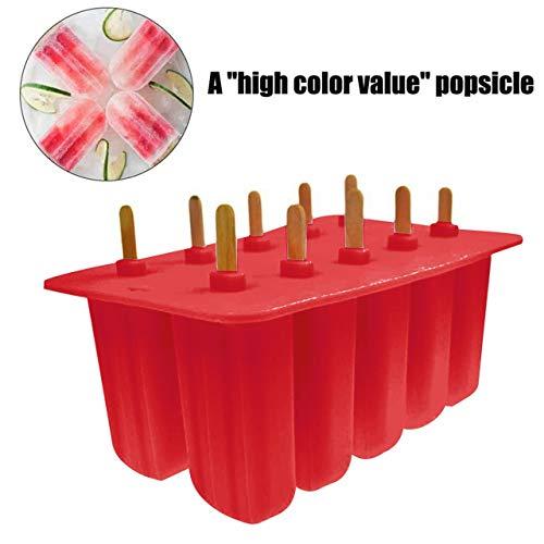 10-loch Silikon Eisform Gefrorene Maker Werkzeuge Eiswürfelschale Mold Old Popsicle Silica Gel Eisform Weiß/Rosa/Rot (rot)