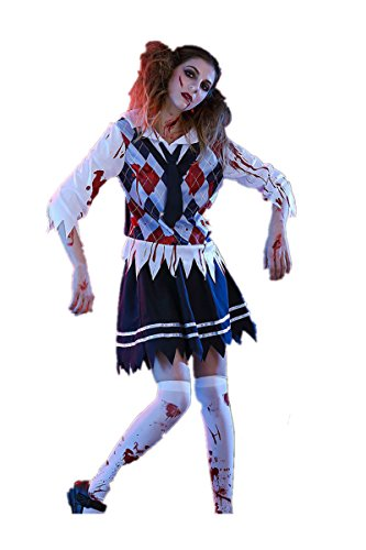 Halloween Ghost Zombie School Girl Erwachsene Cosplay Kostüm Anzug Kleid Bloody School Uniform Outfit Cosplay (M)