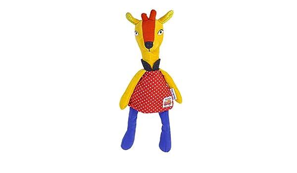 Doudou Moulin Roty la girafe Les Popipop jaune et rouge 36cms
