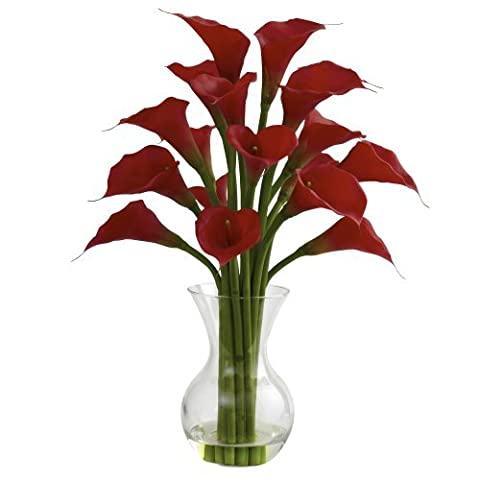 Nearly Natural 1299-RD Galla Calla Lily with Vase Arrangement, Red by Nearly Natural