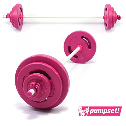 Original Ladypumpset® 20kg Langhantet-Set weiß/pink - kompatibel zum LES MILLS BODYPUMP Set
