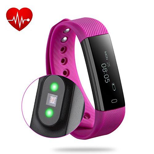 Rixow Fitness Tracker, Bluetooth 4.0 Fitness Armband, Wasserdicht Ip67 Schwimmen Sport Armband-Smart-Sync-Armband Mit Herzfrequenz / Schrittzähler / Kalorienzähler