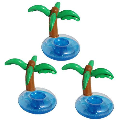 DATO 3 Stück Aufblasbare Getränkehalter Pool Wasser Untersetzer Coasters Flaschenhalter Strand Badespielzeug - Palme