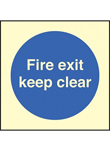 "Caledonia Signs 31606B Schild""Fire Exit Keep Clear\"", beleuchtet, starr, 80 mm x 80 mm"