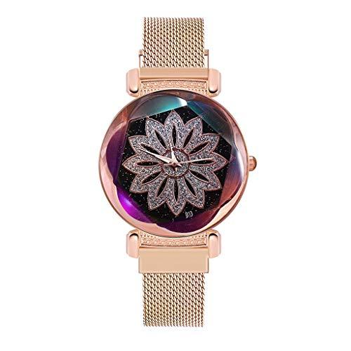 Uhr Armbanduhren Männer Damenuhren Hansee Luxusuhren Quarzuhr Edelstahl Raute Mode Armbanduhr Wrist Watch Uhren Herrenuhr(Gold)