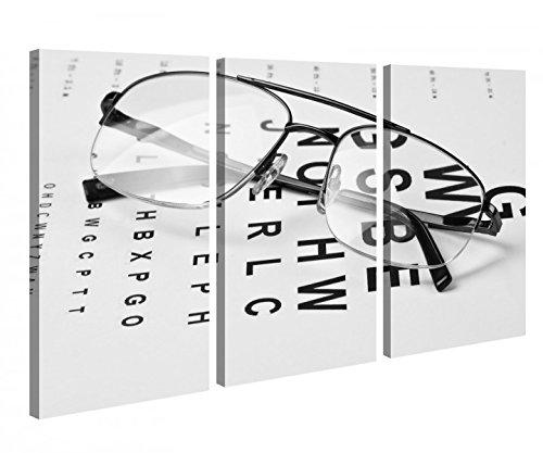 Leinwandbild 3 Tlg Arzt Auge Augenarzt Brille Test Beruf Schwarz weiß Leinwand Bild Bilder Holz fertig gerahmt 9P1061, 3 tlg BxH:120x80cm (3Stk 40x 80cm)