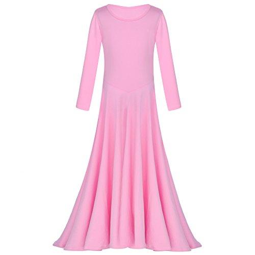 rgischen Tanz Kleid Einfarbig Langarm Praise Kleid Volle Länge Lyrischen Dancewear Ballett Kostüm für Kinder 3-14 Jahre (Halloween-kostüme Für Teenager-mädchen Beste Freunde)