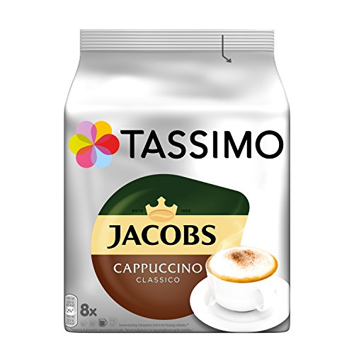 Tassimo Jacobs Cappuccino, Rainforest Alliance Vérifié, Lot de 5, 5 x 16 T-Discs (8 Portions)