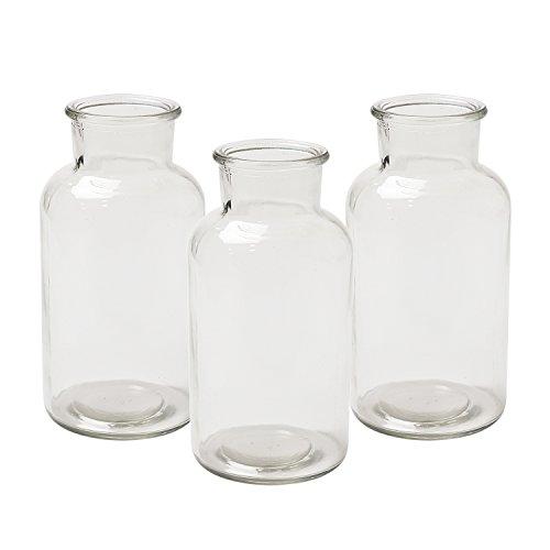 Jodeco Glasflasche Vase Apothekerflasche Servierflasche, ca. Ø 8 cm, H 16 cm, 550 ml, 3 Stück