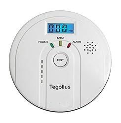 Tegollus CO Melder Kohlenmonoxid CO-Detektor Batteriebetrieben Sensor und Alarm mit Digitalanzeige und Höchstwertspeicherung