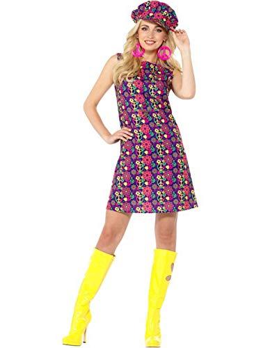 Luxuspiraten - Damen Frauen 60er Jahre psychedelische Flower Power Woodstock CND Hippie Kostüm mit Kleid und Mütze, perfekt für Karneval, Fasching und Fastnacht, L, Lila (Psychedelische Hippie Kostüm)