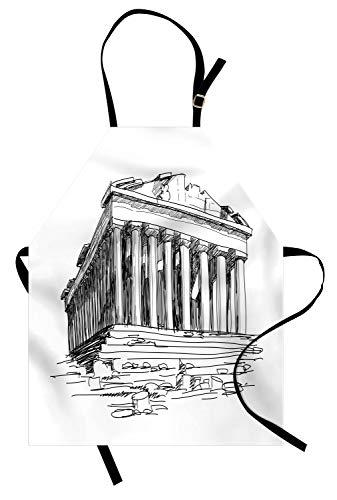 ABAKUHAUS Antiquität Kochschürze, Handgezeichnete Griechenland Pantheon Sketch antiken römischen historischen Kulturerbe Print, Höhenverstellbar Maschienenwaschbar Kein verblassen, Weiß Schwarz