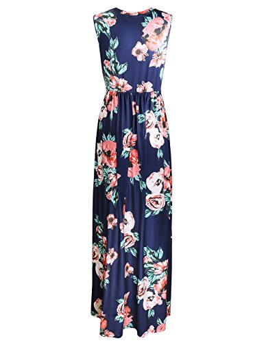 ISASSY Damen Sommerkleid Maxikleid Ärmellos Strandkleid mit Blumendruck Lang Party Ballkleid Abendkleid Dunkelblau