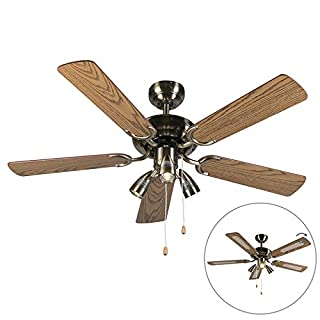 QAZQA Modern Ceiling fan with light Mistral 42 Bronze Wood/Round GU10 Max. 3 x 50 Watt / 3-way/Indoor Lighting/Lights / Lamps/Living room/Kitchen