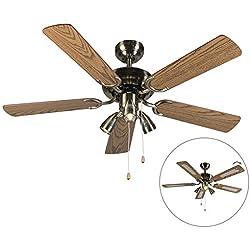 QAZQA Moderne Ventilateur de Plafond avec lumiere bronze - Mistral 42 Bois/Acier Bronze,Marron Rond/Luminaire/Éclairage/intérieur/Salon/Cuisine