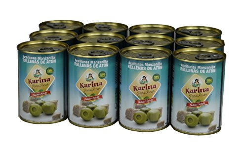 Karina Grüne Manzanilla-Oliven gefüllt mit Thunfischpaste, Dose, 12er Pack (12 x 120 g)