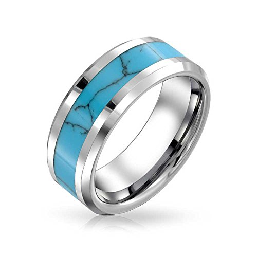 BLING JOYAS MENS TUNGSTEN BLUE INLAY BODA ANILLO DE BANDA