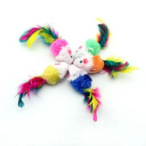 10 Stück Weiche Plüsch Maus Bunte Feder Schwanz Spielzeug für Katze Farbe Zufällig