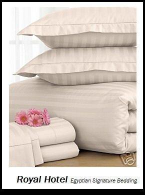 Satin Striped Button (Royal Hotel 's gestreift Elfenbeinfarben 600-thread-count 3california-king Knopfverschluß, Bettbezug 100Prozent Baumwolle, Satin gestreift)