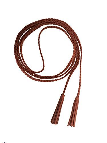 Nanxson(TM) Damen / Mädchen Dekorative Gestrickte Lederbauchkette / Seil / Gurt mit Troddel PDW0042 (camel) (Leder-quaste Dekorative)