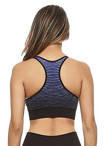 Vibrant Vixen Damen Sport-BH, Ombre, verblasst, Yoga, mittlere Unterstützung, Workout, Sport, Sportbekleidung - Blau - small - 2